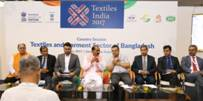 "The Minister of State for Textiles, Shri Ajay Tamta during the Bangladesh country seminar titled ""Textiles & Garment Sector of Bangladesh"", at Textiles India 2017, in Gandhinagar, Gujarat on July 01, 2017."