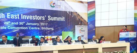 The Union Minister for Textiles, Smt. Smriti Irani delivering the inaugural address at the first ever North East Investors' Summit, at Shillong on January 29, 2017. The Chairman, NEC and Minister of State for Development of North Eastern Region (I/C), Prime Minister's Office, Personnel, Public Grievances & Pensions, Atomic Energy and Space, Dr. Jitendra Singh, the Chief Minister of Meghalaya, Dr. Mukul Sangma, the Minister of State for Home Affairs, Shri Kiren Rijiju, the Vice Chairman, NITI Aayog, Dr. Arvind Panagariya and other dignitaries are also seen.