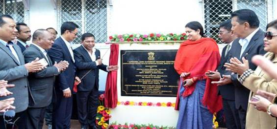 The Union Minister for Textiles, Smt. Smriti Irani accompanied by the Chief Minister of Meghalaya, Dr. Mukul Sangma and the Minister of State for Home Affairs, Shri Kiren Rijiju inaugurating the Apparel & Garment Making Centre, at Hatisil, Ampati, in Meghalaya on January 30, 2017.