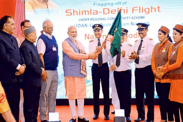 Prime Minister Narendra Modi inaugurating the UDAN regional connectivity scheme in Shimla. Photo: Hindustan Times