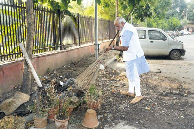 Narendra Modi has launched Swachh Bharat Mission to eliminate open defecation and promote cleanliness. Photo: AFP