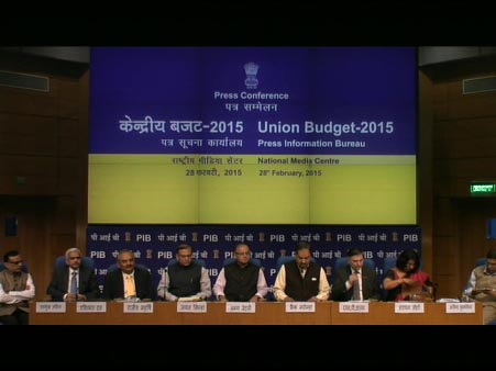 Post Budget Press Conference by the Union Finance Minister Mr. Arun Jaitley at 03.30PM,February 28,2015 NMC,New Delhi