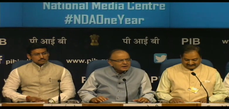 Press Conference by the Finance,Corporate Affairs and Information and Broadcasting Minister,Shri Arun Jaitley to mark one year of NDA government at 11:30 AM, May 22, 2015, NMC,New Delhi