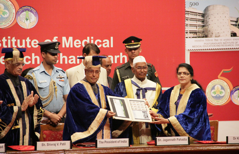1758b060327 ... Shri Pranab Mukherjee releasing the commemorative postage stamp on PGI,  at the 33rd Convocation of the Post Graduate Institute of Medical Sciences  and ...