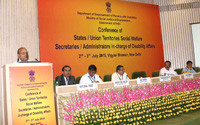 The Union Minister for Social Justice and Empowerment, Shri Thaawar Chand Gehlot delivering the inaugural address at the Conference of the State Social Welfare Secretaries/Administrators of UTs dealing with Disability Affairs, organised by the Department of Empowerment of Persons with Disabilities, M/o Social Justice & Empowerment, in New Delhi on July 02, 2015. The Minister of State for Social Justice & Empowerment, Shri Vijay Sampla, the Secretary, Department of Empowerment of Persons with Disabilities, Shri Lov Verma and other dignitaries are also seen.