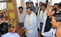 The Minister of State for Textiles (Independent Charge), Shri Santosh Kumar Gangwar visiting after inaugurating the Weavers service Centre, in Aizawl, Mizoram on July 03, 2015. The Minister for Industries, Mizoram, Shri H. Rolhuna and the Secretary, Ministry of Textiles, Dr. S.K. Panda are also seen.