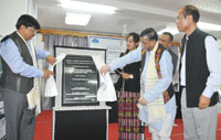 The Minister of State for Textiles (Independent Charge), Shri Santosh Kumar Gangwar unveiling the plaque to lay the foundation stone for Apparel and Garment Manufacturing Center, in Aizawl, Mizoram on July 03, 2015.  The Minister for Industries, Mizoram, Shri H. Rolhuna and the Secretary, Ministry of Textiles, Dr. S.K. Panda are also seen.