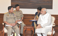 The Commander-in-Chief of Defence Services, Myanmar, Senior General Min Aung Hlaing calling on the Prime Minister, Shri Narendra Modi, in New Delhi on July 29, 2015.