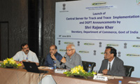 The Secretary, Department of Commerce, Shri Rajeev Kher addressing at the launch of the Central Server for Track & Trace Implementation, in New Delhi on June 29, 2015.