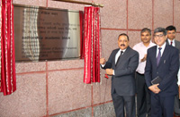 The Minister of State for Development of North Eastern Region (I/C), Prime Minister's Office, Personnel, Public Grievances & Pensions, Department of Atomic Energy, Department of Space, Dr. Jitendra Singh inaugurating the new Academic Block of the Lal Bahadur Shastri National Academy of Administration (LBSNAA), in Mussoorie on June 29, 2015. The Director LBSNAA, Shri Rajeev Kapoor is also seen.