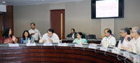 The Union Minister for External Affairs and Overseas Indian Affairs, Smt. Sushma Swaraj chairing the Fourth Meeting of the Board of Trustees India Development Foundation of Overseas Indians (IDF-OI), in New Delhi on May 23, 2015. The Secretary, Ministry of Overseas Indian Affairs, Shri Sunil Soni and other dignitaries are also seen.