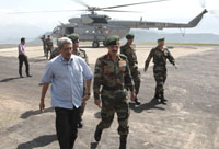The Union Minister for Defence, Shri Manohar Parrikar accompanied by the Chief of Army Staff, General Dalbir Singh on forward area visit, in Rajouri sector on May 23, 2015.