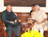 The Former President of Afghanistan, Mr. Hamid Karzai calling on the Prime Minister, Shri Narendra Modi, in New Delhi on May 23, 2015.