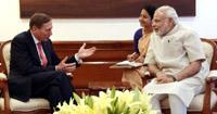 The Head of KKR Global Institute, Gen. (Retd.) David Petraeus calls on the Prime Minister, Shri Narendra Modi, in New Delhi on May 28, 2015.