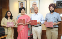 The Union Minister for Human Resource Development, Smt. Smriti Irani releasing the UGC Faculty Research Programme – Third cycle for faculty appointment, in New Delhi on May 28, 2015.