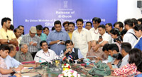 The Union Minister for Road Transport & Highways and Shipping, Shri Nitin Gadkari addressing after releasing the e-Book of his Ministries, on the completion of one year of the NDA Government, in New Delhi on May 28, 2015. The Secretary, Ministry of Road Transport and Highways, Shri Vijay Chibber and the Secretary, Ministry of Shipping, Shri Rajive Kumar are also seen.