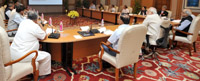 The Prime Minister, Shri Narendra Modi chairing a high-level meeting to review the preparations for International Yoga Day, in New Delhi on May 28, 2015.