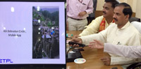 The Minister of State for Culture (Independent Charge), Tourism (Independent Charge) and Civil Aviation, Dr. Mahesh Sharma launching the mobile app. on ASI protected monuments of Uttarakhand and documentary on Jageshwar group of Temples, at Haldwani, in Uttarakhand on May 28, 2015.