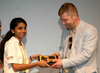 The Director of the film 'RAMS', Bjarni Sigurjornsson being felicitated at the 46th International Film Festival of India (IFFI-2015), in Panaji, Goa on November 28, 2015.