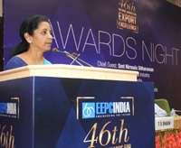 The Minister of State for Commerce & Industry (Independent Charge), Smt. Nirmala Sitharaman addressing at the presentation ceremony of the EEPC India's 46th Annual Awards for Exports Excellence, in New Delhi on September 03, 2015.