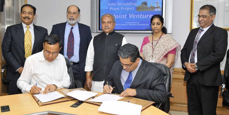 स्टील की रीसाइक्लिंग के लिए भारत में पहला  ऑटो श्रेडिंग प्लांट लगाएंगे  एमएसटीसी और महिंद्रा