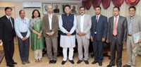 The Minister of Energy, Nepal, Mr. Janardan Sharma Prabhakar meeting the Minister of State for Power, Coal, New and Renewable Energy and Mines (Independent Charge), Shri Piyush Goyal, in New Delhi on December 05, 2016. The Secretary, Ministry of Power, Shri P.K. Pujari is also seen.