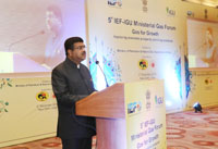 The Minister of State for Petroleum and Natural Gas (Independent Charge), Shri Dharmendra Pradhan delivering the inaugural address at the 5th IEF- IGU Ministerial Gas Forum, in New Delhi on December 06, 2016.