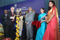 The Governor of Kerala and former Chief Justice of India, Mr. Justice P. Sathasivam lighting the lamp at the inauguration of the Human Rights Day function of the National Human Rights Commission (NHRC), in New Delhi on December 10, 2016.