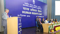 The Chairperson, NHRC, Mr. Justice H.L. Dattu addressing at the Human Rights Day function of the National Human Rights Commission (NHRC), in New Delhi on December 10, 2016.