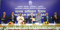 The Governor of Kerala and former Chief Justice of India, Mr. Justice P. Sathasivam releasing a journal, at the Human Rights Day function of the National Human Rights Commission (NHRC), in New Delhi on December 10, 2016.  The Chairperson, NHRC, Mr. Justice H.L. Dattu and other dignitaries are also seen.