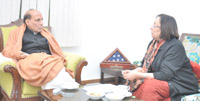 The Union Minister for Minority Affairs, Dr. Najma A. Heptulla calling on the Union Home Minister, Shri Rajnath Singh, in New Delhi on February 07, 2016.