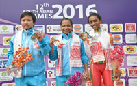 Lidiyamol Sunny of India wins the Gold Medal, Tongbram Manorama Devi  of India  wins the Silver medal and PJMJ Silva of Srilanka wins the Gold and  MANR Appuhamy wins the silver Medal, in the 40 Km Criterium Race of women in the cycle  events of the 12th South Asian Games-2016, in Guwahati on February 07, 2016.