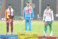 Neeraj Chopra (INDIA) won Gold Medal, D.S. Ranasinghe (SRI LANKA) won Silver Medal and Arshad Nadeem (PAKISTAN) in Javelin throw, at the 12th South Asian Games-2016, in Guwahati on February 10, 2016.