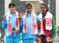 L. Surya (INDIA) won Gold Medal, Swaty gadhave (INDIA) won Silver Medal and UKN Rathnayaka (SRI LANKA) won Bronze Medal in 5000m women's run, at the 12th South Asian Games-2016, in Guwahati on February 10, 2016.
