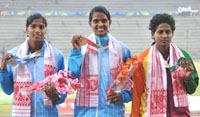 Gayathry (INDIA) won Gold Medal, Sajitha KV (INDIA) won Silver Medal and RAIS Rajasinghe (SRI LANKA) Bronze Medal in 100m women Hurdles Run, at the 12th South Asian Games-2016, in Guwahati on February 10, 2016.