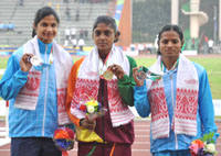 RMRK Rathnayaka (SRI LANKA) won Gold Medal, Srabani Nanda (INDIA) won Silver Medal and Dutee Chand (INDIA) won Bronze Medal in 100m women's Run, at the 12th South Asian Games-2016, in Guwahati on February 10, 2016.