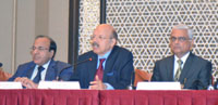 The Chief Election Commissioner, Dr. Nasim Zaidi addressing a press conference, in Chennai on February 11, 2016. The Election Commissioners, Shri A.K. Joti and Shri O.P. Rawat are also seen.