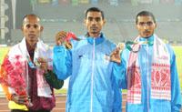 Ajay Kumar Saroj of India won Gold Medal, Sanjeewa Lakmal of Sri Lanka won Silver Medal and Rahul of India won Bronze Medal in Men's 1500m Run in Athletics, at 12th South Asian Games-2016, in Guwahati on February 11, 2016.
