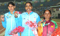 L. Surya of India won Gold Medal, Swaty Gadhave of India won Silver Medal and S.A. Lama Hewage of Sri Lanka won Bronze Medal in Women's 10000m Run in Athletics, at 12th South Asian Games-2016, in Guwahati on February 11, 2016.