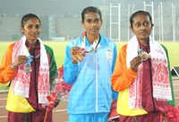 Chithra P.U. of India won Gold Medal, G.T.A. Abeyrathna of Sri Lanka won Silver Medal and U.K.N Rathnayaka of Sri Lanka won Bronze Medal in Women's 1500m Run in Athletics, at 12th South Asian Games-2016, in Guwahati on February 11, 2016.