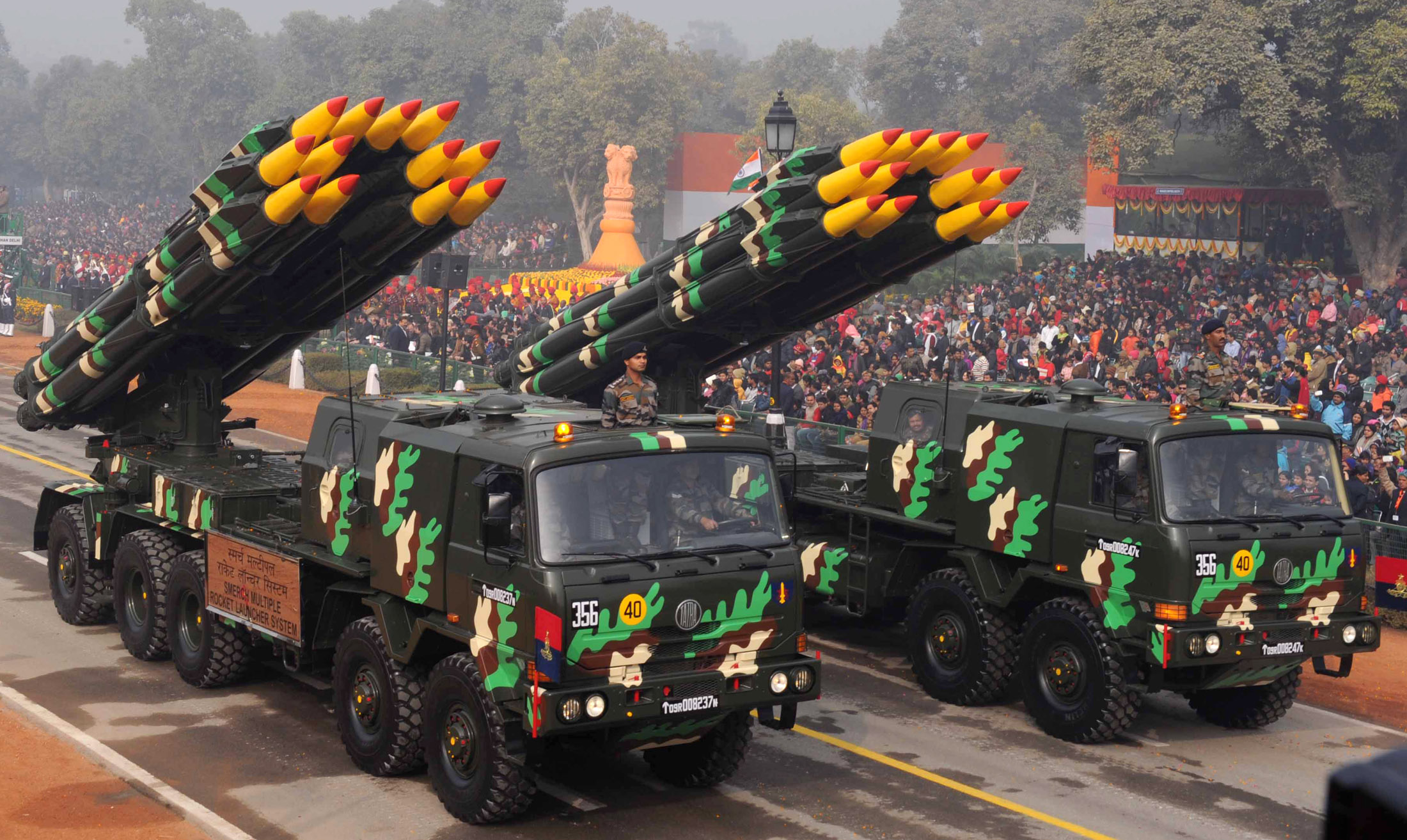 Smerch Multiple Rocket Launcher System passes through the Rajpath, on the occasion of the 67th Republic Day Parade 2016, in New Delhi on January 26, 2016.
