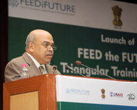 """The Secretary, Ministry of Agriculture and Farmers Welfare, Shri S.K. Pattanayak addressing at the launch of the """"Feed the Future - India Triangular Training Program"""", in New Delhi on July 25, 2016."""
