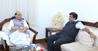 The Union Minister for Road Transport & Highways and Shipping, Shri Nitin Gadkari calling on the Union Home Minister, Shri Rajnath Singh, in New Delhi on July 25, 2016.