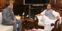 The Lt. Governor of Andaman & Nicobar Islands, Lt. General (Retd.) Shri A.K. Singh calling on the Union Home Minister, Shri Rajnath Singh, in New Delhi on July 25, 2016.