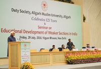 The Vice President, Shri M. Hamid Ansari delivering the inaugural address at the Seminar on Educational Development of Weaker Sections of our Nation, in New Delhi on July 29, 2016. 