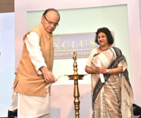 The Union Minister for Finance and Corporate Affairs, Shri Arun Jaitley lighting the lamp at the launch of the SBI's Wealth Management Initiative and unveil SBI Exclusive Services, in New Delhi on July 29, 2016.