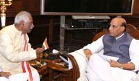 The Minister of State for Labour and Employment (Independent Charge), Shri Bandaru Dattatreya meeting the Union Home Minister, Shri Rajnath Singh, in New Delhi on June 28, 2016.