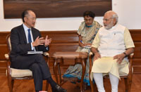 The President, World Bank, Dr. Jim Yong Kim calling on the Prime Minister, Shri Narendra Modi, in New Delhi on June 30, 2016.