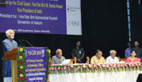 The Vice President, Shri M. Hamid Ansari addressing the gathering after inaugurating the 19th National Convention on Knowledge, Library and Information Networking - NACLIN 2016, at Tezpur University, in Assam on October 26, 2016. The Governor of Assam, Shri Banwarilal Purohit and the Minister for Irrigation, Handloom & Textiles, Assam, Shri Ranjit Dutta are also seen.