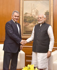 The Minister of Defence of the Russian Federation, Mr. Sergei Shoigu calling the Prime Minister, Shri Narendra Modi, in New Delhi on October 26, 2016.